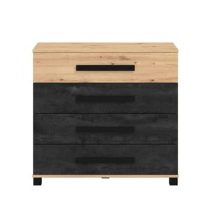 Madeira 4 Drawer Chest - Oak - Black - Modern - Flatpack - Ideale - Chest of Drawers - Chest - Storage - Unit - Bedroom Furniture - Steptoes