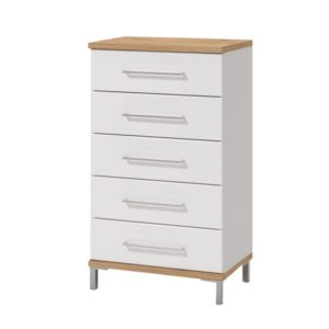 Mondego 5 Drawer Chest - Night Stand - Cabinet - Chest - Storage - Unit - Flatpack - Modern - White - Oak - Drawers - Furniture - Steptoes - Paphos - Cyprus