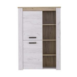 Kent 1 Door Display Cabinet - Cabinet - Display - Bookcase - Bookshelf - Living - Lounge - Furniture - Modern - Flatpack - Whitewash - Steptoes - Paphos - Cyprus